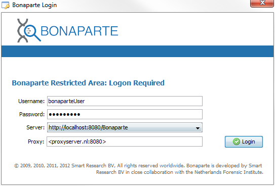 Bonaparte logon screen